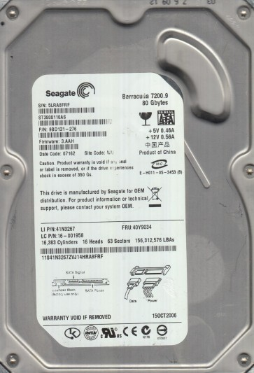 ST3808110AS, 5LR, WU, PN 9BD131-276, FW 3.AAH, Seagate 80GB SATA 3.5 Hard Drive