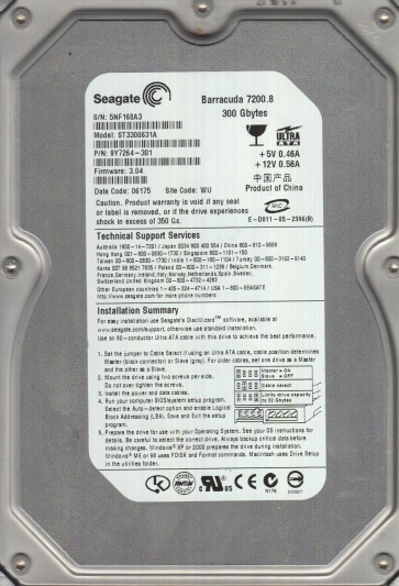 ST3300631A, 5NF, WU, PN 9Y7264-301, FW 3.04, Seagate 300GB IDE 3.5 Hard Drive