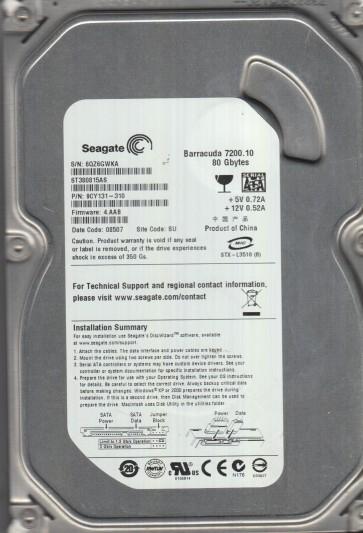 ST380815AS, 6QZ, SU, PN 9CY131-310, FW 4.AAB, Seagate 80GB SATA 3.5 Hard Drive
