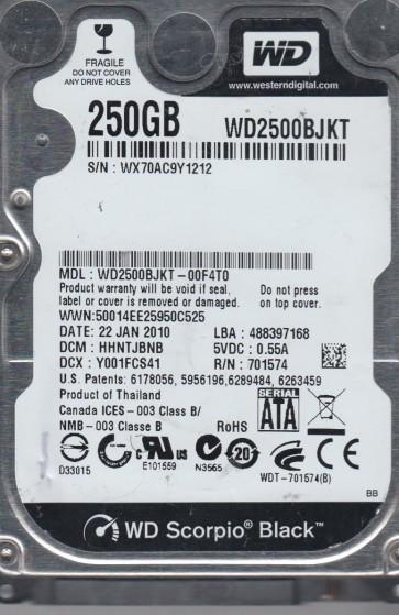 WD2500BJKT-00F4T0, DCM HHNTJBNB, Western Digital 250GB SATA 2.5 Hard Drive