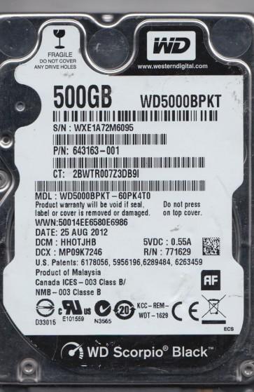 WD5000BPKT-60PK4T0, DCM HHOTJHB, Western Digital 500GB SATA 2.5 Hard Drive