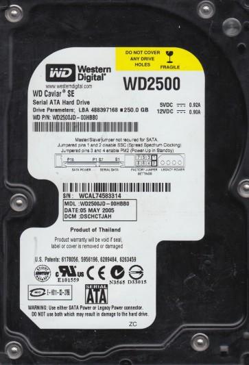 WD2500JD-00HBB0, DCM DSCHCTJAH, Western Digital 250GB SATA 3.5 Hard Drive