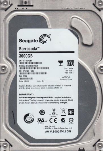 ST3000DM001, S1F, SU, PN 9YN166-505, FW CC82, Seagate 3TB SATA 3.5 Hard Drive
