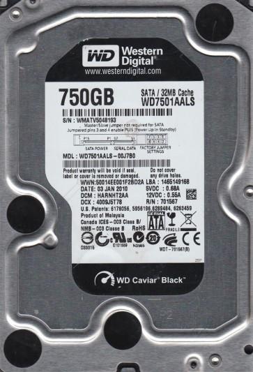 WD7501AALS-00J7B0, DCM HARNHT2AA, Western Digital 750GB SATA 3.5 Hard Drive