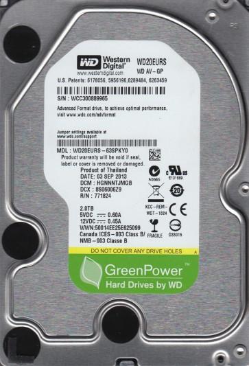 WD20EURS-63SPKY0, DCM HGNNNTJMGB, Western Digital 2TB SATA 3.5 Hard Drive