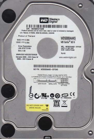 WD5000AAKS-00YGA0, DCM HARCHT2AAB, Western Digital 500GB SATA 3.5 Hard Drive