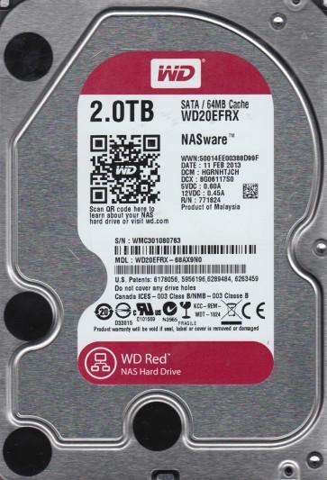 WD20EFRX-68AX9N0, DCM HGRNHTJCH, Western Digital 2TB SATA 3.5 Hard Drive