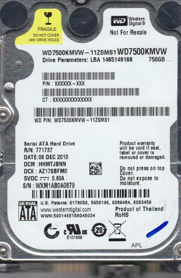 WD7500KMVW-11ZSMS1, DCM HHMTJBNN, Western Digital 750GB USB 2.5 Hard Drive