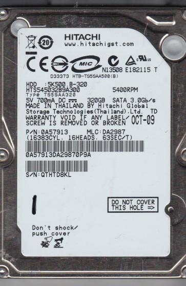 HTS545032B9A300, PN 0A57913, MLC DA2987, Hitachi 320GB SATA 2.5 Hard Drive