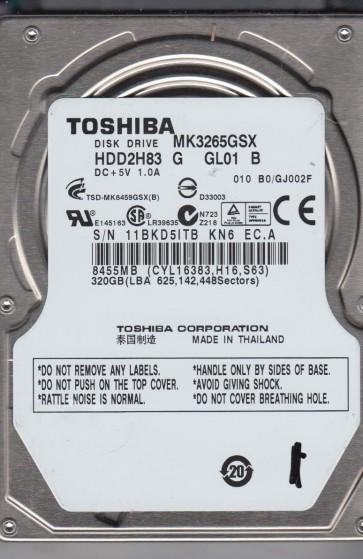MK3265GSX, B0/GJ002F, HDD2H83 G GL01 B, Toshiba 320GB SATA 2.5 Hard Drive