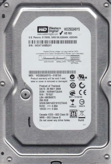 WD2502ABYS-01B7A0, DCM HARNHT2AAN, Western Digital 250GB SATA 3.5 Hard Drive