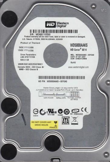 WD5000AAKS-00YGA0, DCM DHNCHT2MHB, Western Digital 500GB SATA 3.5 Hard Drive