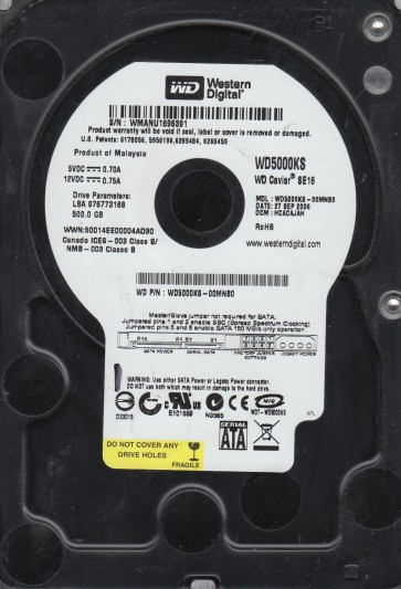 WD5000KS-00MNB0, DCM HCACAJAH, Western Digital 500GB SATA 3.5 Hard Drive