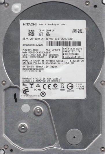 HDS721010CLA332, PN 0F10839, MLC JPT3FF, Hitachi 1TB SATA 3.5 Hard Drive