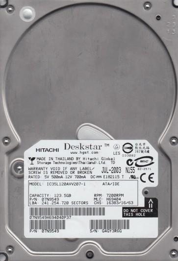 IC35L120AVV207-1, PN 07N9549, MLC H69404, Hitachi 123.5GB IDE 3.5 Hard Drive