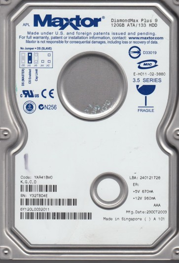 6Y120L0, Code YAR41BW0, KGCD, Maxtor 120GB IDE 3.5 Hard Drive