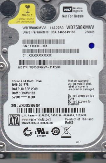 WD7500KMVV-11A27S0, DCM EHCVJHBB, Western Digital 750GB USB 2.5 Hard Drive