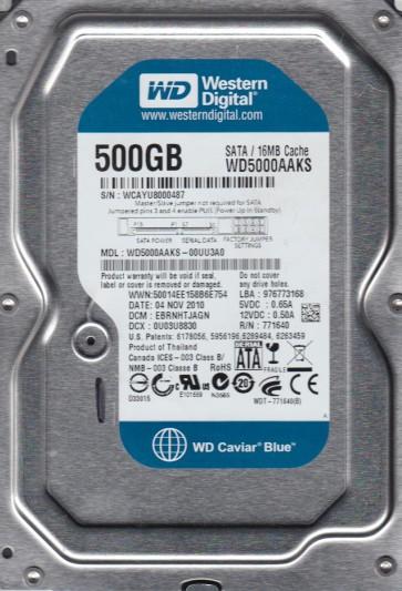 WD5000AAKS-00UU3A0, DCM EBRNHTJAGN, Western Digital 500GB SATA 3.5 Hard Drive