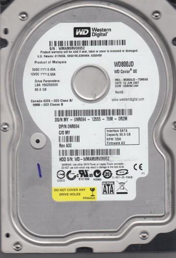 WD800JD-75MSA3, DCM HSBHNTJAH, Western Digital 80GB SATA 3.5 Hard Drive