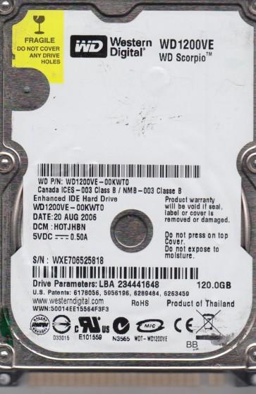 WD1200VE-00KWT0, DCM HOTJHBN, Western Digital 120GB IDE 2.5 Hard Drive
