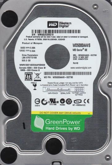 WD5000AAVS-32ZTB0, DCM HHNCHT2CH, Western Digital 500GB SATA 3.5 Hard Drive