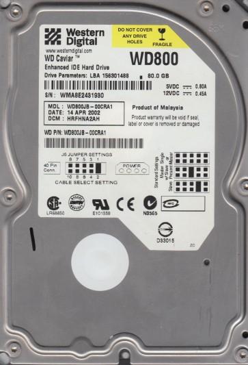 WD800JB-00CRA1, DCM HRFHNA2AH, Western Digital 80GB IDE 3.5 Hard Drive