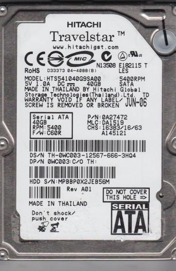 HTS541040G9SA00, PN 0A27472, MLC DA1519, Hitachi 40GB SATA 2.5 Hard Drive