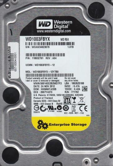 WD1003FBYX-12Y7B0, DCM HHNNHTJCBB, Western Digital 1TB SATA 3.5 Hard Drive