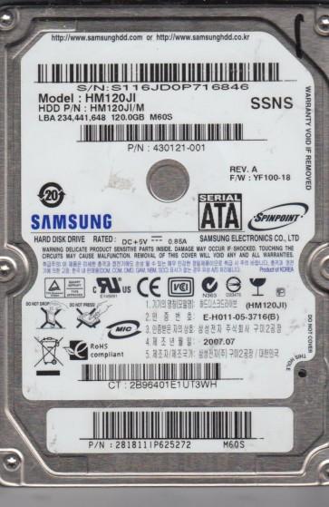 HM120JI, HM120JI/M, FW YF100-18, M60S, Samsung 120GB SATA 2.5 Hard Drive