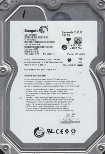 ST3750528AS, 9VP, TK, PN 9SL153-301, FW CC37, Seagate 750GB SATA 3.5 Hard Drive
