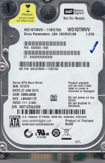 WD10TMVV-11BG7S0, DCM EBBVJBNB, Western Digital 1TB USB 2.5 Hard Drive
