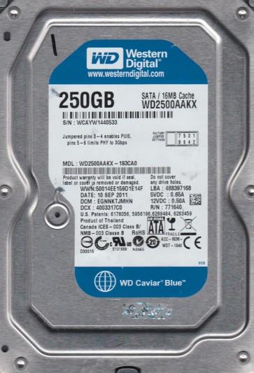 WD2500AAKX-193CA0, DCM EGNNKTJMHN, Western Digital 250GB SATA 3.5 Hard Drive