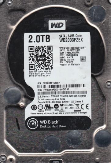 WD2003FZEX-00Z4SA0, DCM HBRCHVJMA, Western Digital 2TB SATA 3.5 Hard Drive
