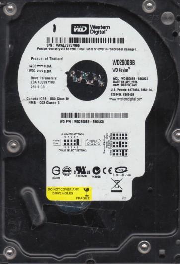 WD2500BB-55GUC0, DCM DSBHNTJAH, Western Digital 250GB IDE 3.5 Hard Drive