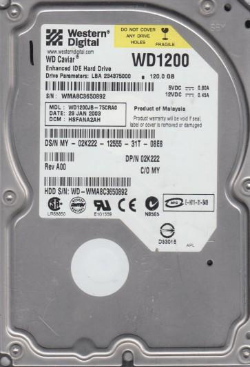 WD1200JB-75CRA0, DCM HSFANA2AH, Western Digital 120GB IDE 3.5 Hard Drive
