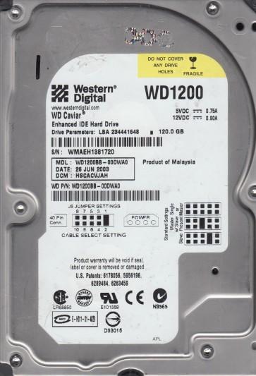 WD1200BB-00DWA0, DCM HSCACVJAH, Western Digital 120GB IDE 3.5 Hard Drive