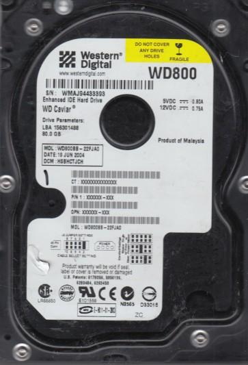WD800BB-22FJA0, DCM HSBHCTJCH, Western Digital 80GB IDE 3.5 Hard Drive
