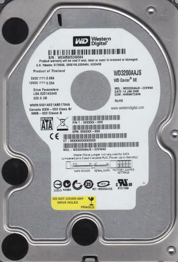 WD3200AAJS-22VWA0, DCM HHRNNT2AHN, Western Digital 320GB SATA 3.5 Hard Drive