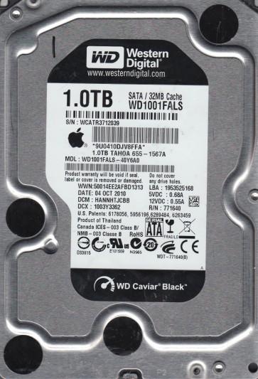 WD1001FALS-40Y6A0, DCM HANNHTJCBB, Western Digital 1TB SATA 3.5 Hard Drive