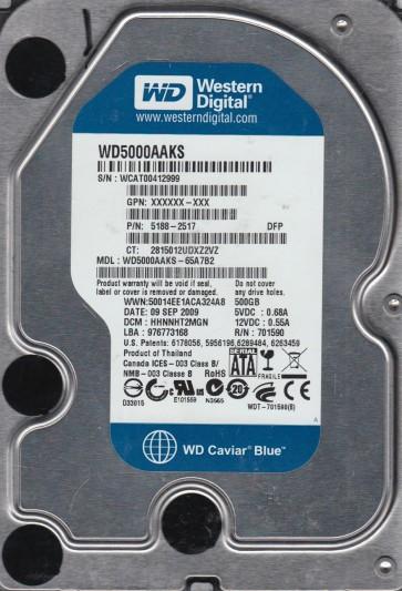 WD5000AAKS-65A7B2, DCM HHNNHT2MGN, Western Digital 500GB SATA 3.5 Hard Drive