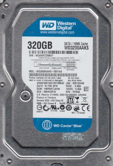 WD3200AAKS-00V1A0, DCM HBRNHTJAHN, Western Digital 320GB SATA 3.5 Hard Drive