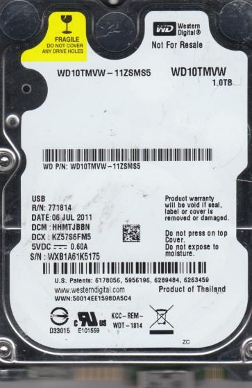 WD10TMVW-11ZSMS5, DCM HHMTJBBN, Western Digital 1TB USB 2.5 Hard Drive
