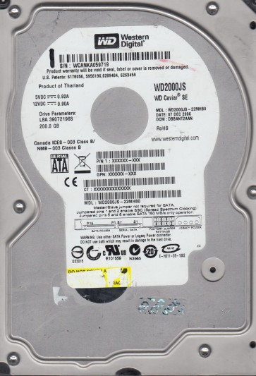 WD2000JS-22MHB0, DCM DBBANT2AAN, Western Digital 200GB SATA 3.5 Hard Drive