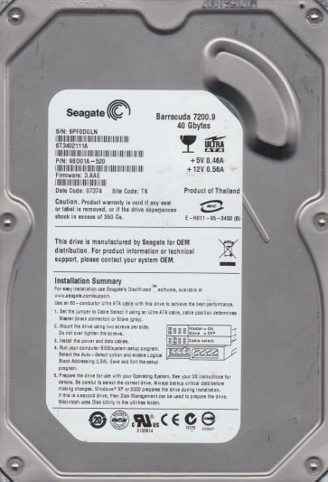 ST3402111A, 9PF, TK, PN 9BD01A-520, FW 3.AAE, Seagate 40GB IDE 3.5 Hard Drive