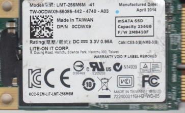 Dell 256GB LMT-256M6M, 0CDWX9, 2M8410F, mSata 1.8 SSD