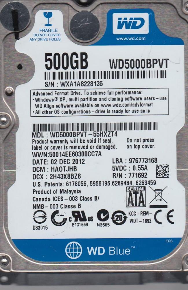 WD5000BPVT-55HXZT4, DCM HAOTJHB, Western Digital 500GB SATA 2 5 Hard Drive