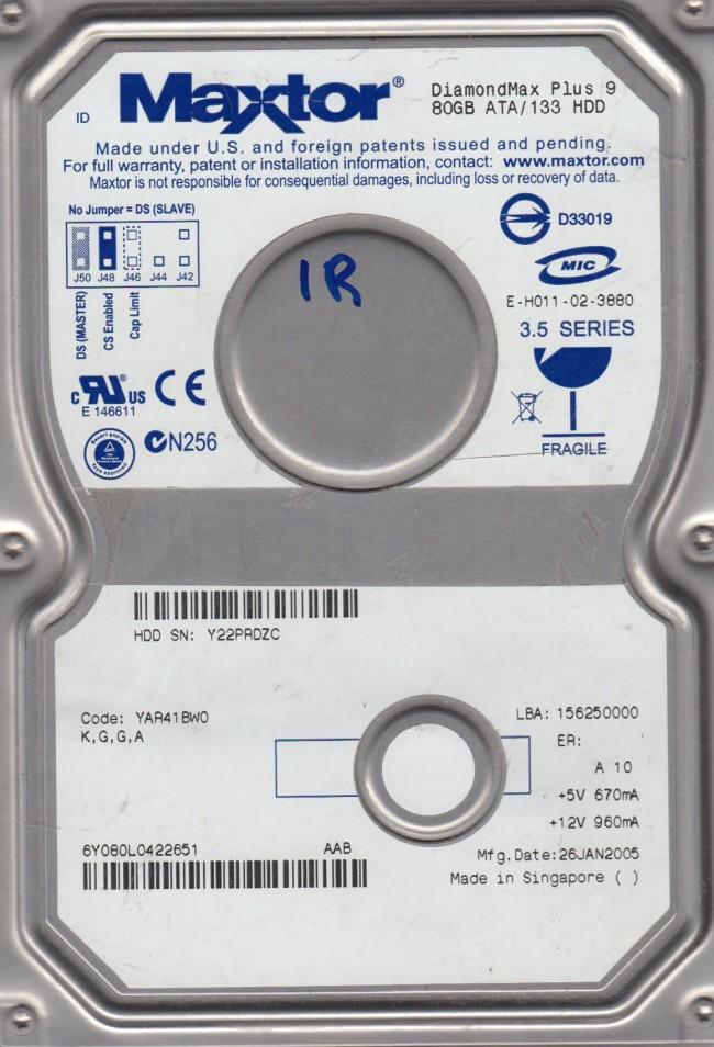 6Y080L0 Code YAR41BW0 KGGA Maxtor 80GB IDE 35 Hard Drive