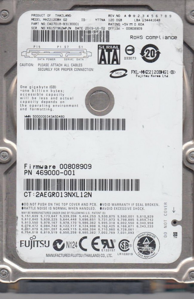 Fujitsu mhw2120bh 120gb sata pcb board only firmware.