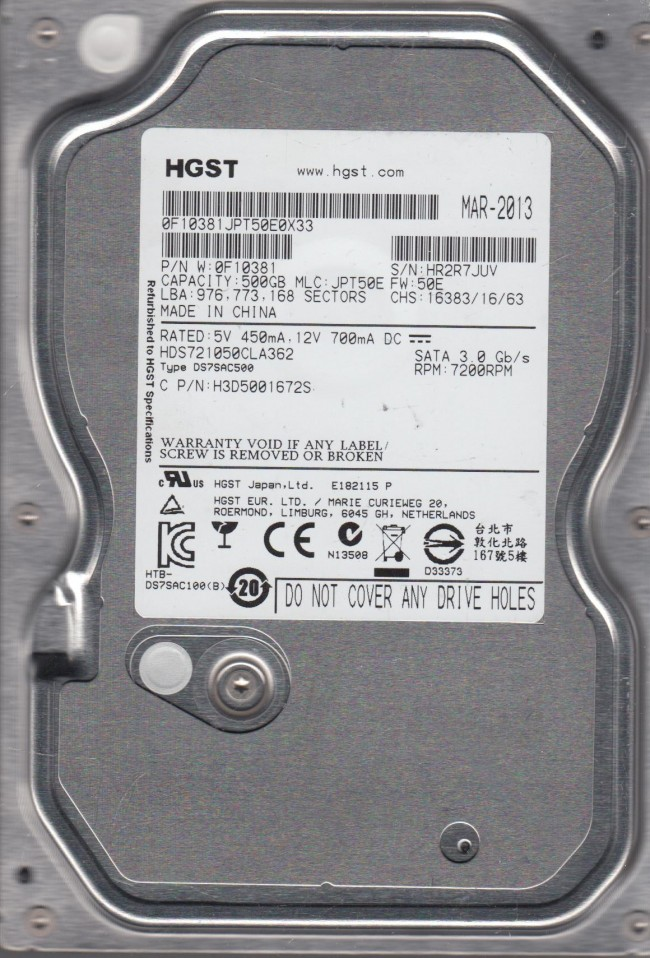 PN 0A30716 0A29252 BA1502 Hitachi 500GB IDE 3.5 PCB HDS725050KLAT80