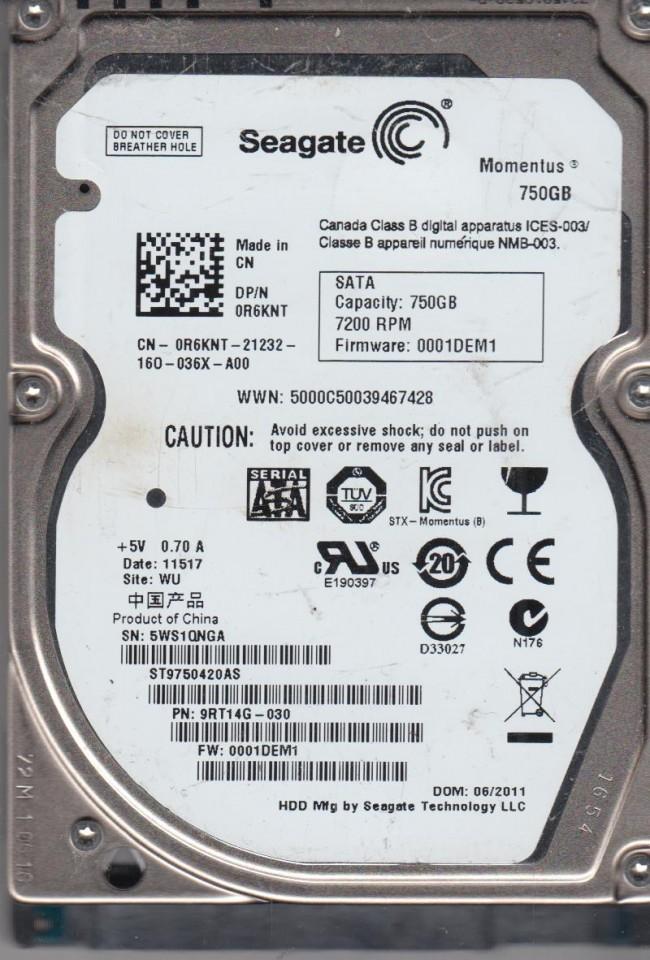 Seagate 750GB SATA 2.5 Hard Dr WU PN 9RT14G-030 FW 0001DEM1 5WS ST9750420AS